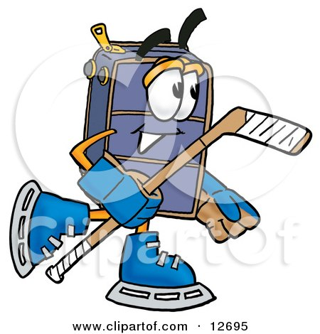 Clipart Picture of a Suitcase Cartoon Character Playing Ice Hockey by Toons4Biz