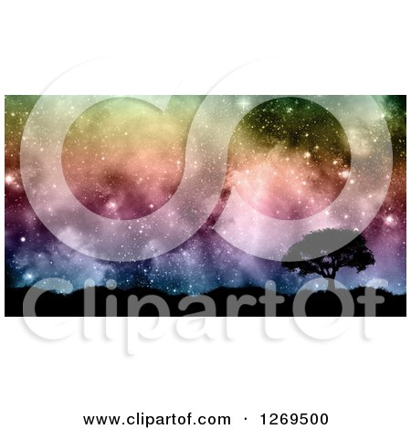 Clipart Of A 3d Silhouetted Tree And Hills Against A Colorful Nebula Starry Sky Royalty Free Illustration