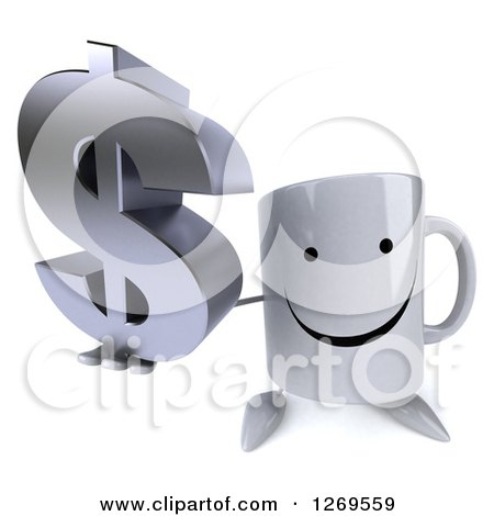 Clipart of a 3d Happy Coffee Mug Holding up a Dollar Symbol - Royalty Free Illustration by Julos