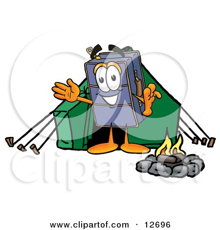 Clipart Picture of a Suitcase Cartoon Character Camping With a Tent and Fire by Toons4Biz