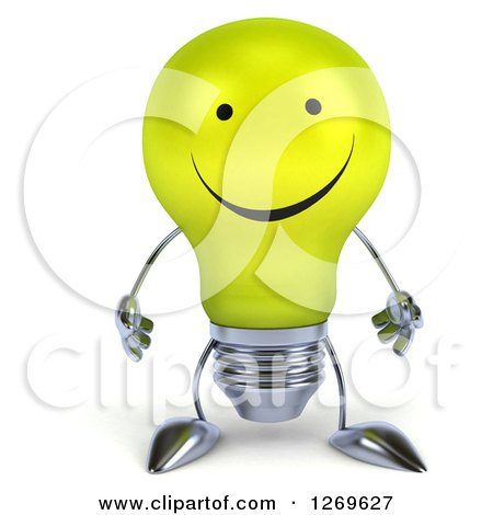 Clipart of a 3d Happy Yellow Light Bulb Character - Royalty Free Illustration by Julos