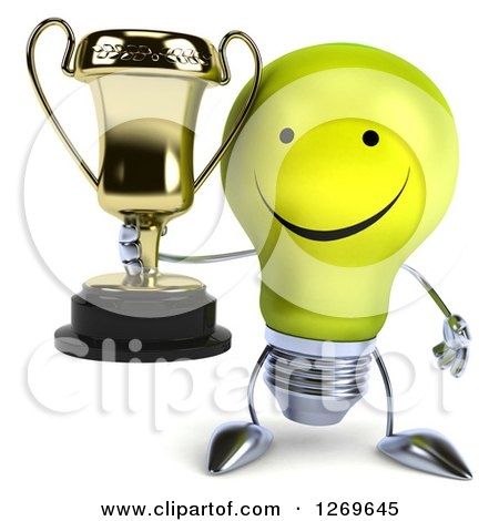 Clipart of a 3d Happy Yellow Light Bulb Character Holding a Gold Trophy - Royalty Free Illustration by Julos