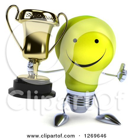 Clipart of a 3d Happy Yellow Light Bulb Character Giving a Thumb up and Holding a Gold Trophy - Royalty Free Illustration by Julos