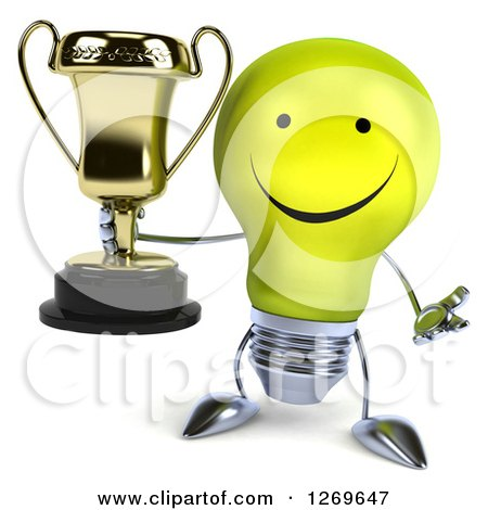 Clipart of a 3d Happy Yellow Light Bulb Character Shrugging and Holding a Gold Trophy - Royalty Free Illustration by Julos