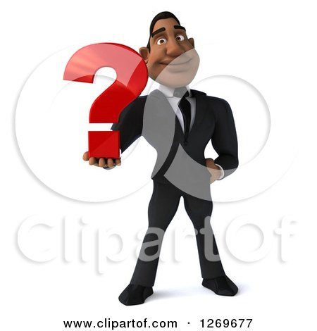 Clipart of a 3d Handsome Black Businessman Holding a Question Mark - Royalty Free Illustration by Julos
