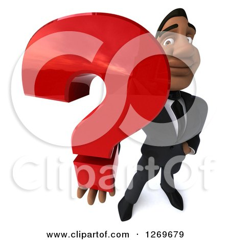 Clipart of a 3d Handsome Black Businessman Holding up a Question Mark - Royalty Free Illustration by Julos