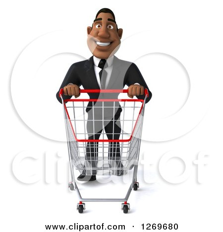 Clipart of a 3d Handsome Black Businessman Pushing an Empty Shopping Cart - Royalty Free Illustration by Julos
