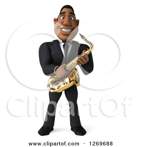 Clipart of a 3d Handsome Black Businessman or Musician Holding a Saxophone - Royalty Free Illustration by Julos