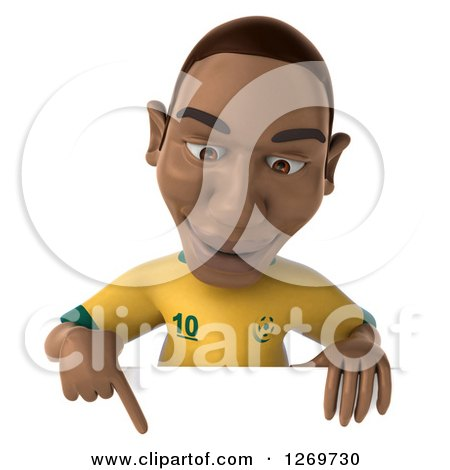 Clipart of a 3d Black Male Brazilian Soccer Player Pointing down over a Sign - Royalty Free Illustration by Julos