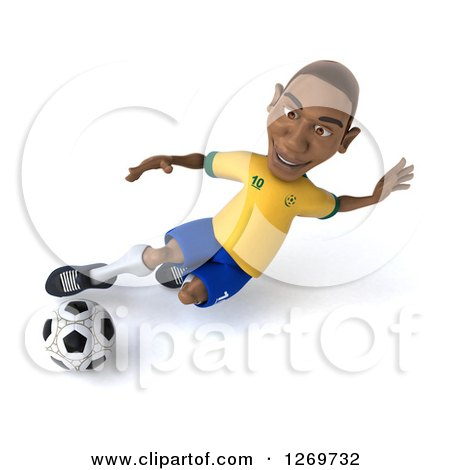 Clipart of a 3d Black Male Brazilian Soccer Player Kicking a Ball - Royalty Free Illustration by Julos