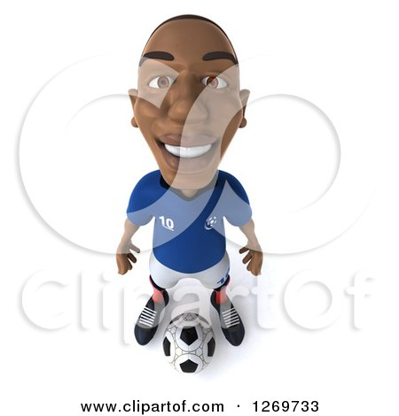 Clipart of a 3d Black French Soccer Player Smiling Upwards and Standing over a Ball - Royalty Free Illustration by Julos