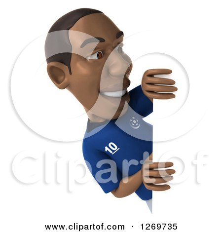 Clipart of a 3d Black French Soccer Player Looking Around a Sign - Royalty Free Illustration by Julos
