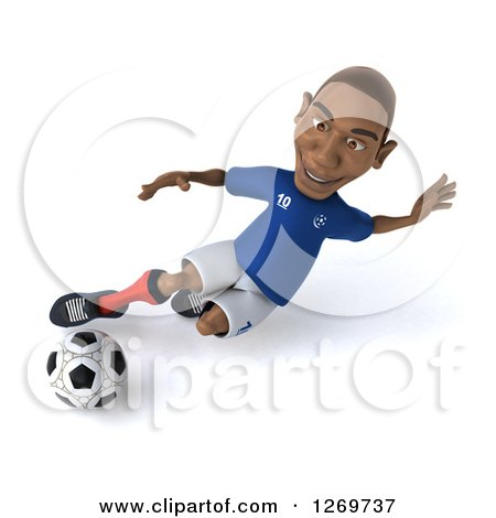 Clipart Of A 3d Black French Soccer Player Kicking A Ball Royalty Free Illustration