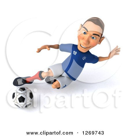 Clipart of a 3d White French Soccer Player Kicking a Ball - Royalty Free Illustration by Julos