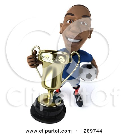 Clipart of a 3d Black French Soccer Player Holding up a Trophy Cup and a Ball at His Hip - Royalty Free Illustration by Julos