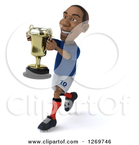 Clipart of a 3d Black French Soccer Player Running with a Trophy Cup - Royalty Free Illustration by Julos