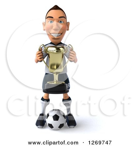 Clipart of a 3d White German Soccer Player Holding a Trophy and Standing over a Ball - Royalty Free Illustration by Julos