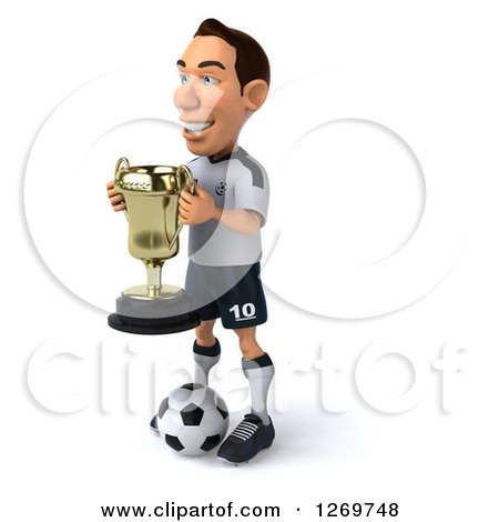 Clipart of a 3d White German Soccer Player Facing Left, Holding a Trophy and Standing over a Ball - Royalty Free Illustration by Julos