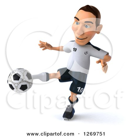 Clipart of a 3d White German Soccer Player Kicking a Soccer Ball - Royalty Free Illustration by Julos