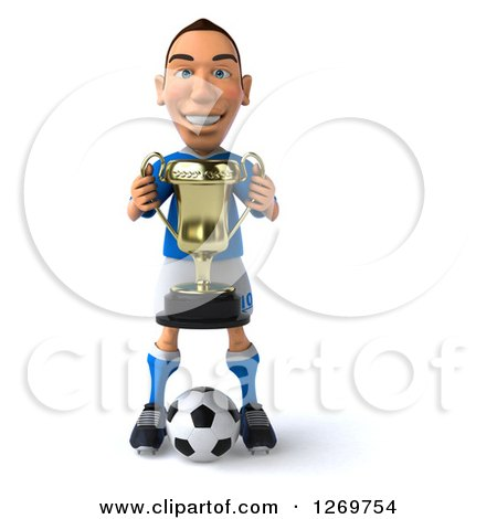 Clipart of a 3d White Italian Soccer Player Holding a Trophy and Standing over a Ball - Royalty Free Illustration by Julos