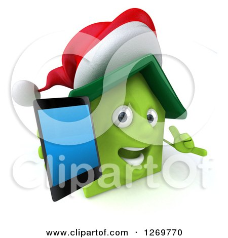 Clipart of a 3d Happy Green Christmas House Character Holding up a Smart Phone and Gesturing to Call - Royalty Free Illustration by Julos