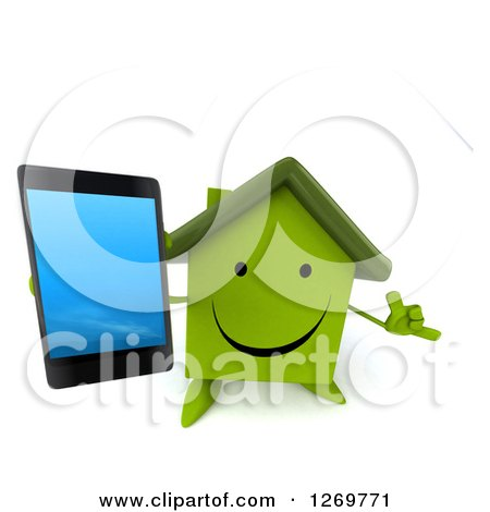 Clipart of a 3d Happy Green House Character Gesturing Call Me and Holding up a Smart Phone - Royalty Free Illustration by Julos