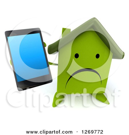 Clipart of a 3d Unhappy Green House Character Holding up a Smart Phone - Royalty Free Illustration by Julos