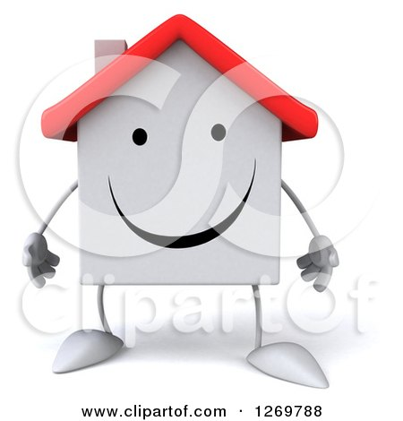 Clipart of a 3d Happy White House Character - Royalty Free Illustration by Julos