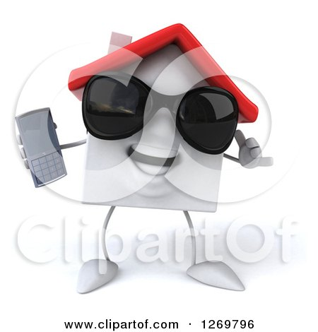 Clipart of a 3d White House Character Wearing Sunglasses, Gesturing Call Me and Holding a Cell Phone - Royalty Free Illustration by Julos