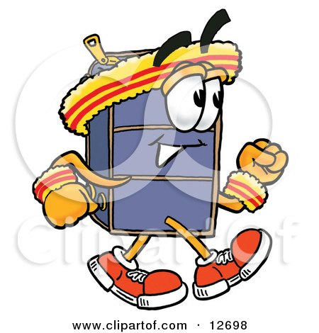 Clipart Picture of a Suitcase Cartoon Character Speed Walking or Jogging by Toons4Biz