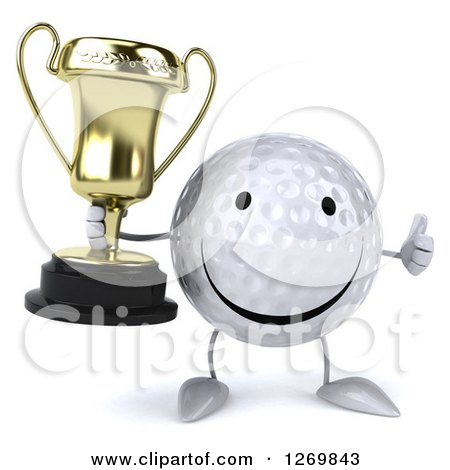 Clipart of a 3d Happy Golf Ball Character Giving a Thumb up and Holding a Trophy - Royalty Free Illustration by Julos
