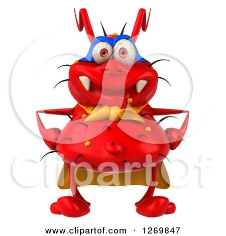 Clipart of a 3d Red Germ Super Hero - Royalty Free Illustration by Julos
