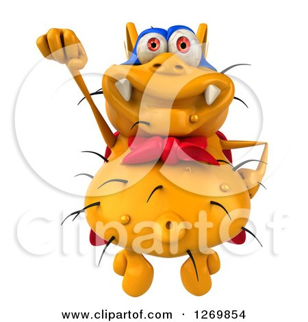 Clipart of a 3d Yellow Germ Super Hero Flying - Royalty Free Illustration by Julos