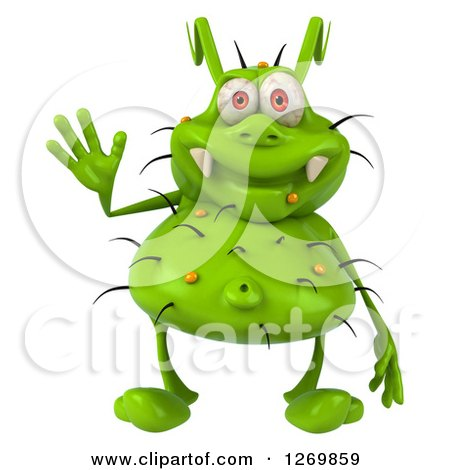 Clipart of a 3d Green Germ Waving - Royalty Free Illustration by Julos