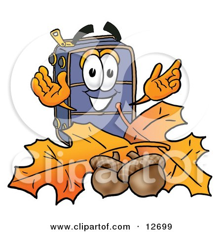 Clipart Picture of a Suitcase Cartoon Character With Autumn Leaves and Acorns in the Fall by Toons4Biz