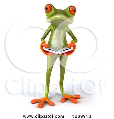 Clipart of a 3d Green Springer Frog Standing and Holding an Open Book - Royalty Free Illustration by Julos
