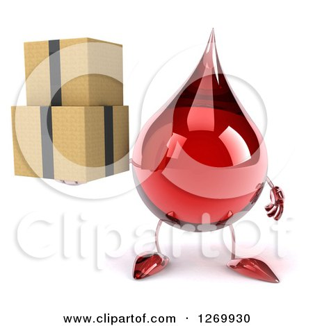 Clipart of a 3d Hot Water or Blood Drop Mascot Holding Boxes - Royalty Free Illustration by Julos