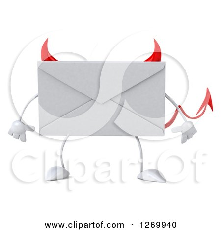 Clipart of a 3d Devil Envelope Character - Royalty Free Illustration by Julos