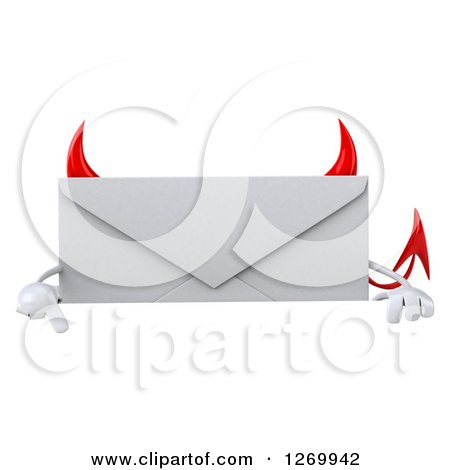 Clipart of a 3d Devil Envelope Character Pointing down over a Sign - Royalty Free Illustration by Julos