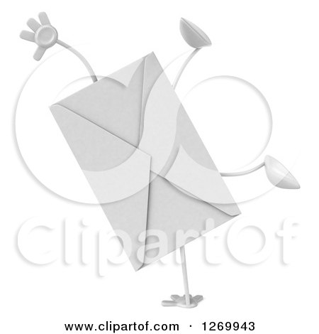 Clipart of a 3d Envelope Character Cartwheeling - Royalty Free Illustration by Julos