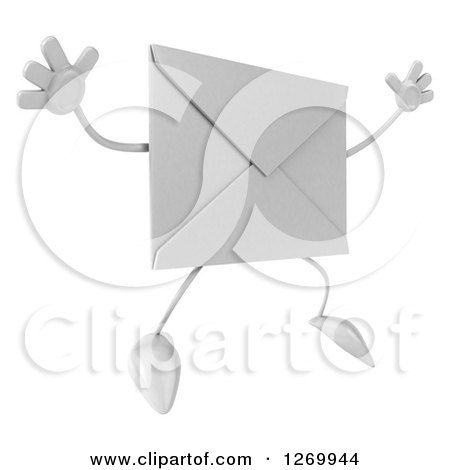 Clipart of a 3d Envelope Character Jumping - Royalty Free Illustration by Julos