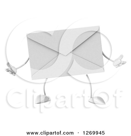Clipart of a 3d Envelope Character Shrugging - Royalty Free Illustration by Julos
