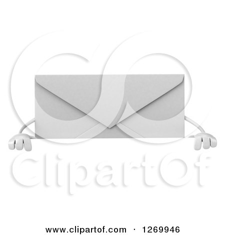 Clipart of a 3d Envelope Character over a Sign - Royalty Free Illustration by Julos