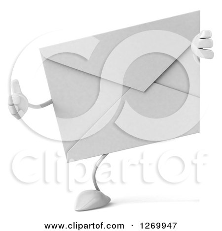 Clipart of a 3d Envelope Character Giving a Thumb up Around a Sign - Royalty Free Illustration by Julos