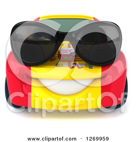 Clipart of a 3d Happy Spanish Flag Porsche Car Character Wearing Sunglasses - Royalty Free Illustration by Julos