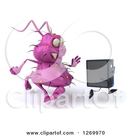 Clipart of a 3d Purple Virus Monster Chasing After a Computer Tower - Royalty Free Illustration by Julos