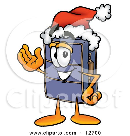 Clipart Picture of a Suitcase Cartoon Character Wearing a Santa Hat and Waving by Toons4Biz
