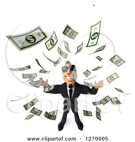 Clipart of a 3d White Businessman Wearing Sunglasses, Looking Up, and Making It Rain Cash Money - Royalty Free Illustration by Julos