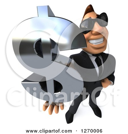 Clipart of a 3d Macho White Businessman Wearing Sunglasses and Holding up a Dollar Symbol - Royalty Free Illustration by Julos