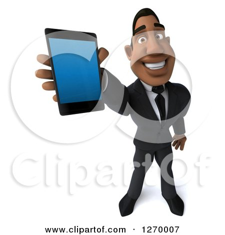 Clipart of a 3d Handsome Black Businessman Holding up a Smart Phone - Royalty Free Illustration by Julos